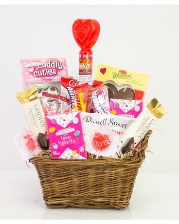 Sweet Heart Candy Basket Flower Arrangement