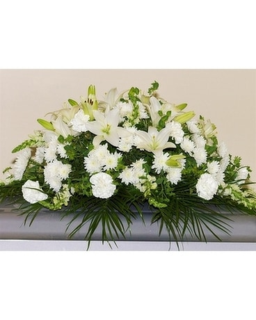 Comforting Tribute Half Casket Cover Flower Arrangement