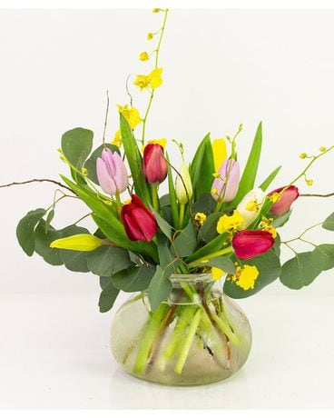 Tulips & Oncidium Orchids Flower Arrangement