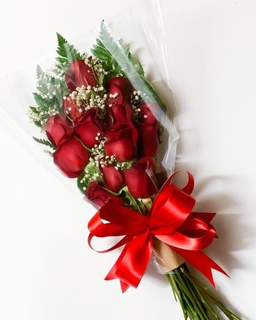 One Dozen Red Roses Wrapped Flower Arrangement