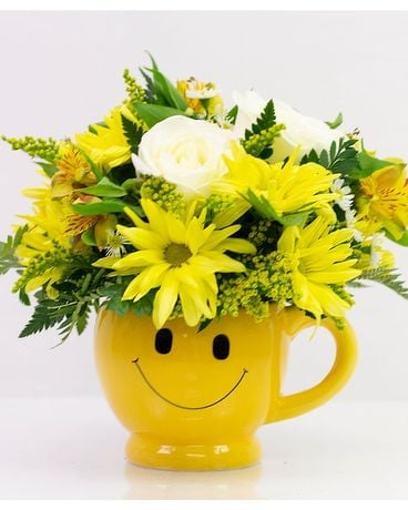 Smiley Face Mug Flower Arrangement