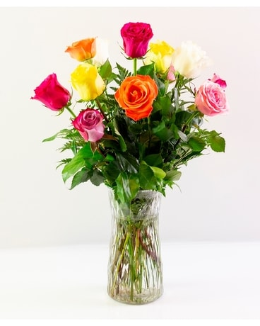 One Dozen Assorted Roses Flower Arrangement