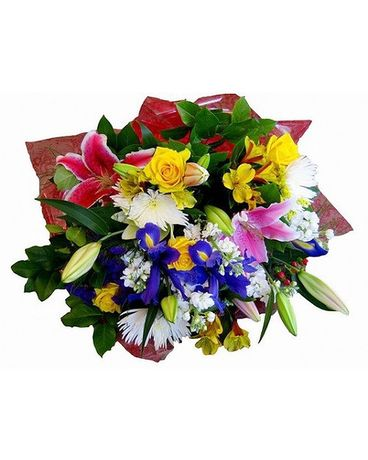 Seasonal Wrapped Bouquet Flower Arrangement