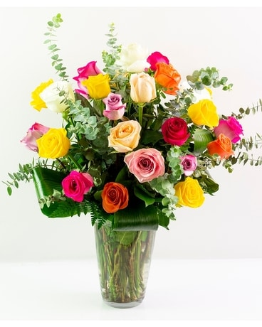Two Dozen Assorted Roses Flower Arrangement