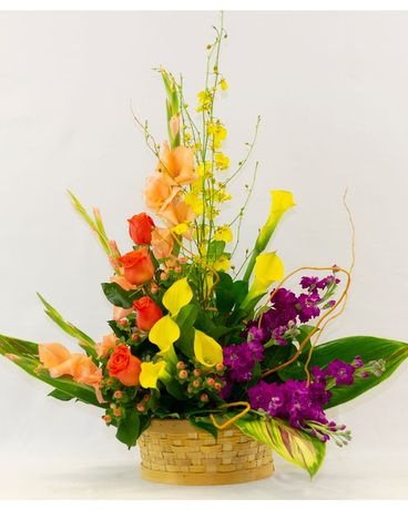 Colorful Blooms Basket Basket Arrangement