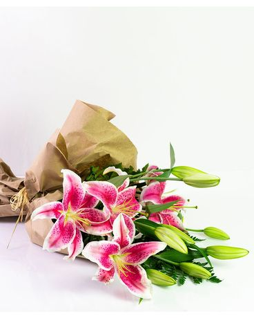 Wrapped Stargazer Lilies Flower Arrangement