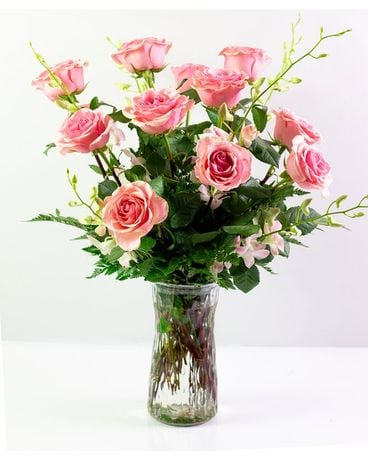 Two Dozen Pink Roses Flower Arrangement