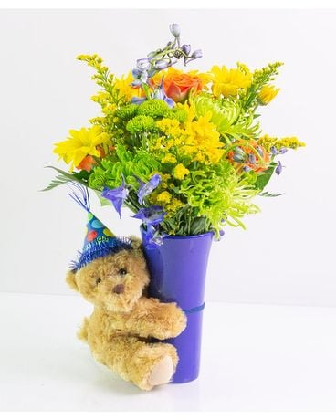 Birthday Bear Flower Arrangement