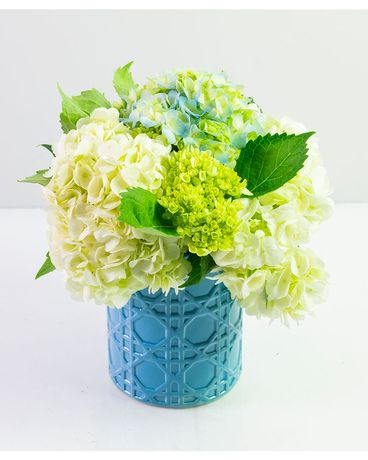 Aqua Vase of Hydrangea Blooms Flower Arrangement