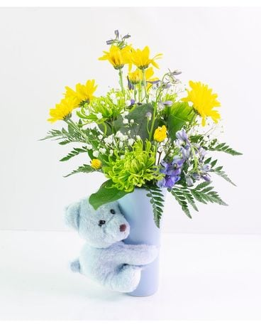 Baby Boy Bear Hug Flower Arrangement