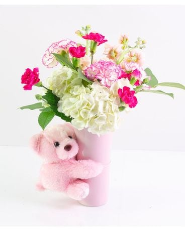 Baby Girl Bear Hug Flower Arrangement