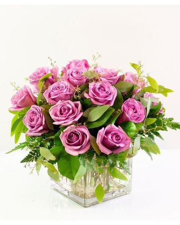 Lavender Rose Cube Flower Arrangement