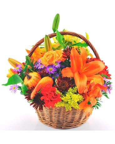 Mixed Seasonal Basket for Fall Flower Arrangement
