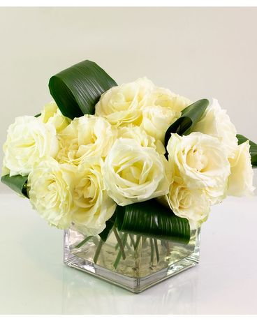 Modern White Rose Cube Flower Arrangement