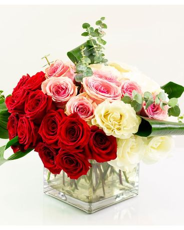 Modern Romantic Rose Cube Flower Arrangement