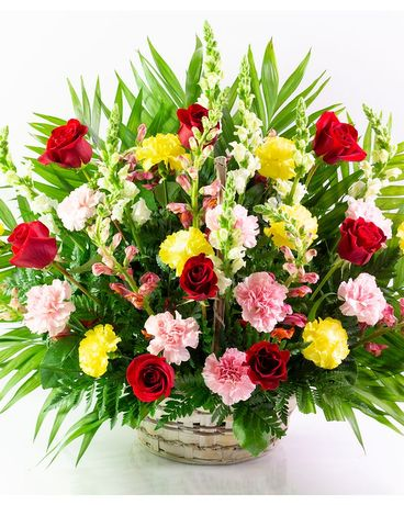 Colorful Bereavement Basket Flower Arrangement