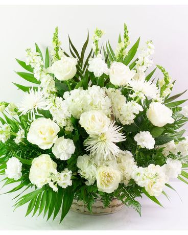 All White Bereavement Basket Flower Arrangement