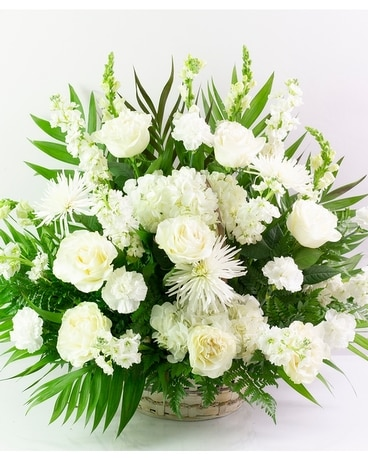 All Red Bereavement Basket Flower Arrangement