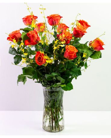 Orange Roses and Orchids Flower Arrangement