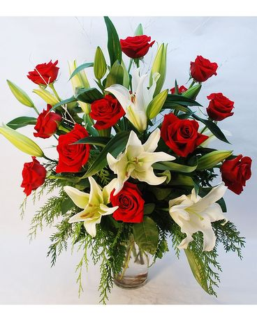 Winter Roses and Lilies Flower Arrangement