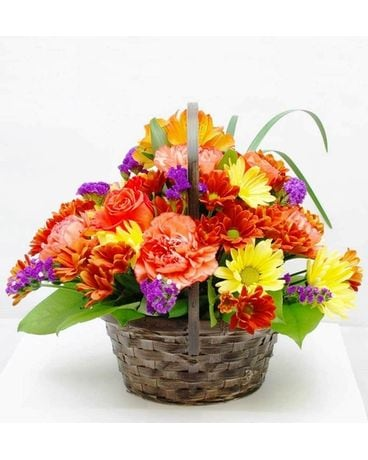 Touch of Fall Basket Flower Arrangement