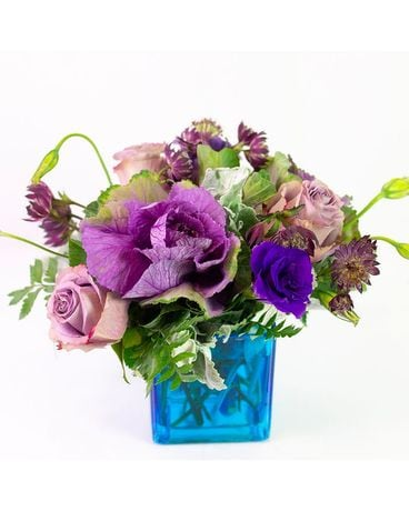 Burst of Purple and Cobalt Flower Arrangement