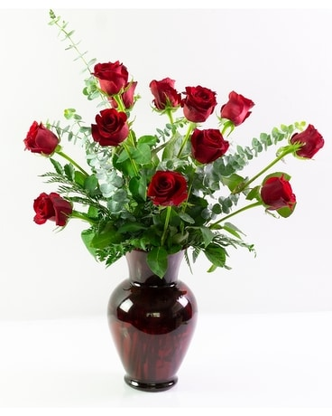 One Dozen Ruby Roses Flower Arrangement