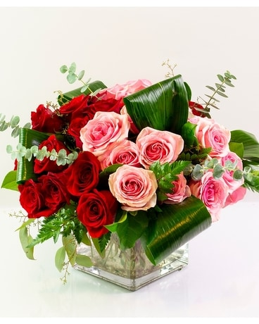 Modern Pink & Red Rose Cube Flower Arrangement