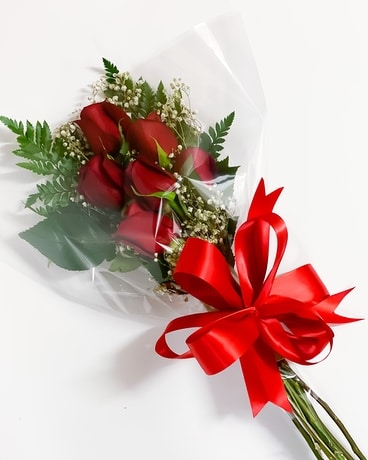 Half Dozen Red Roses Wrapped Flower Arrangement
