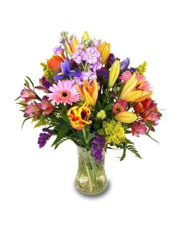Mixed Spring Vase of Blooms Flower Arrangement