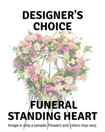 Designer's Choice Open Heart Funeral Arrangement