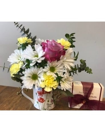 Thank You Mug with Chocolate Flower Arrangement