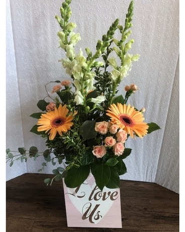 I Love Us Arrangement with Sign Flower Arrangement