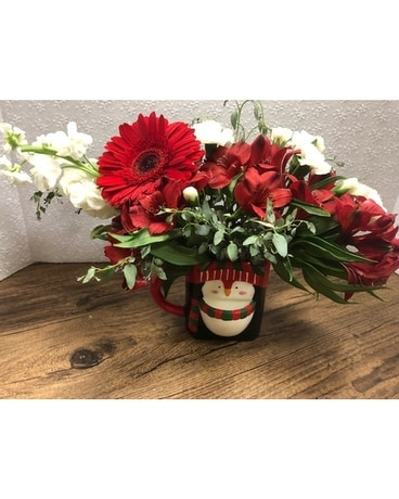 Festive Penguin Flower Arrangement