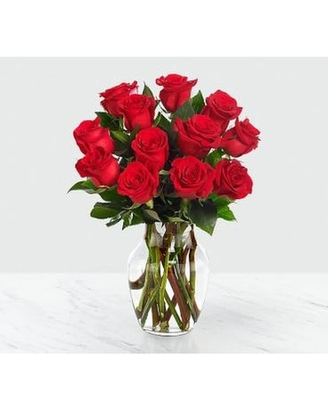 Red 1 Dozen Roses Flower Arrangement