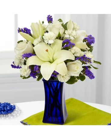 The FTD Beyond Blue Bouquet Flower Arrangement