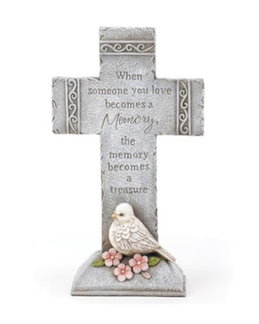 Cross - With Dove Flower Arrangement