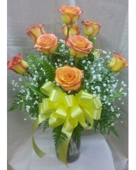 12 Roses Vased - Yellow with Red Edge