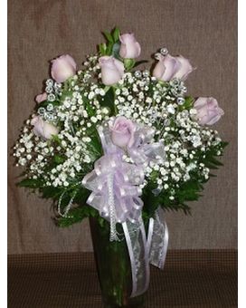 Doz Roses Vased - Pink 1 Flower Arrangement