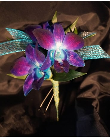 Amy Blue Orchid Boutonniere