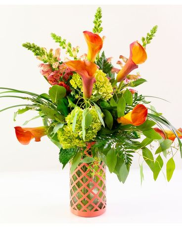 Coral Calla Vase Flower Arrangement