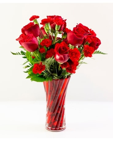 Red Swirl Rose Vase Flower Arrangement
