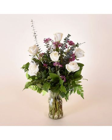 McShan Half Dozen White Roses Flower Arrangement