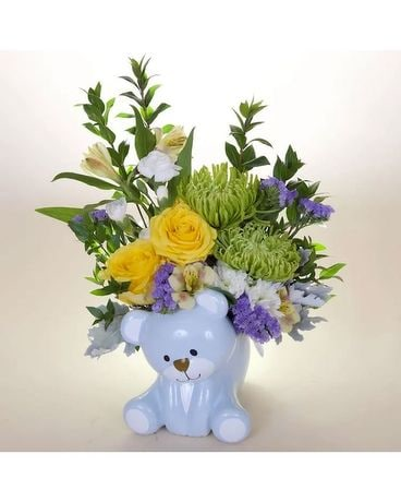 Teleflora's Joyful Blue Bear Flower Arrangement