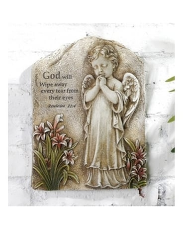 Praying Angel Plaque Flower Arrangement