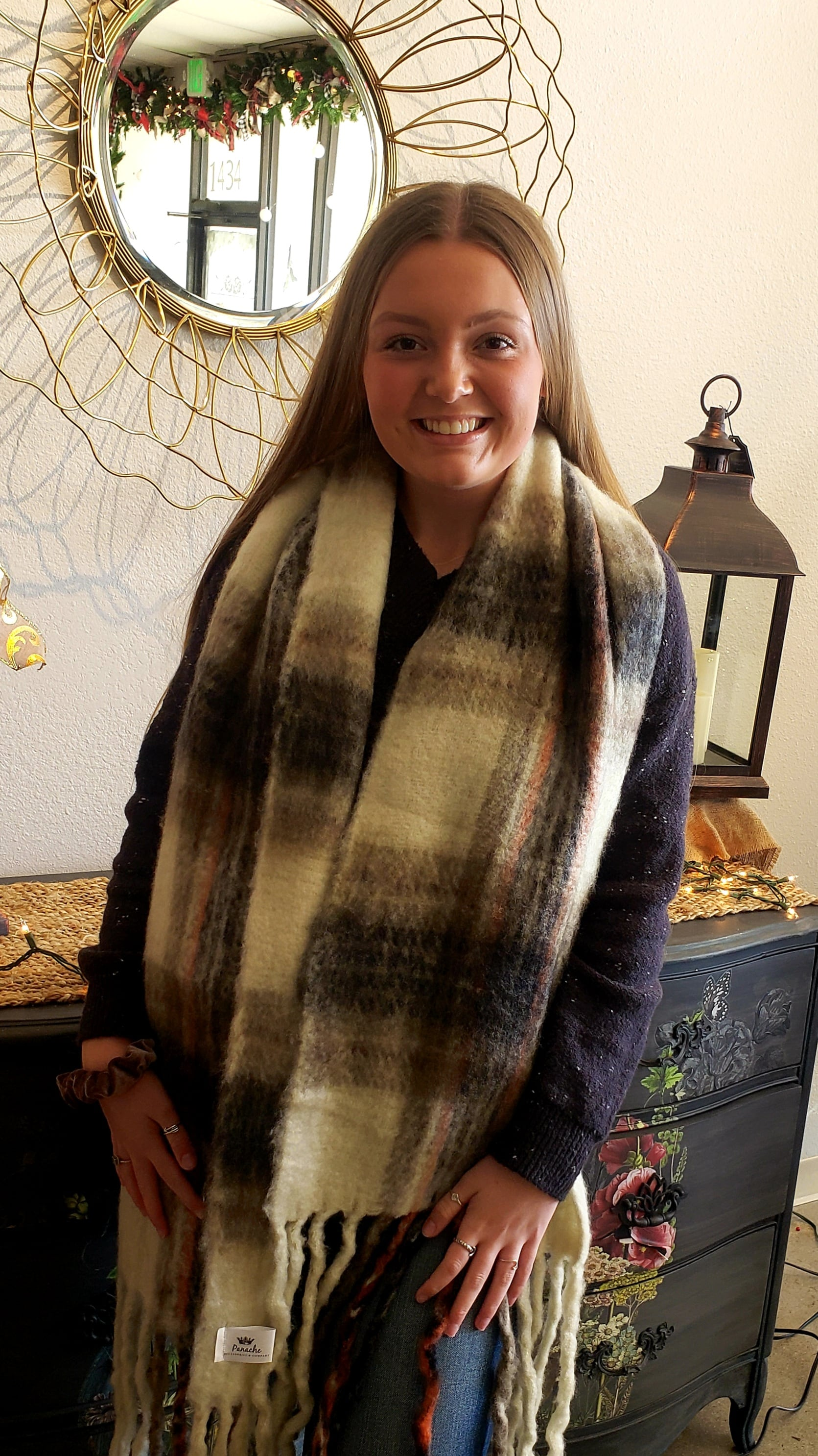 Winter Scarf Cream Plaid