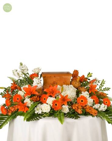 Orange & White Tribute [6M1UT] Flower Arrangement