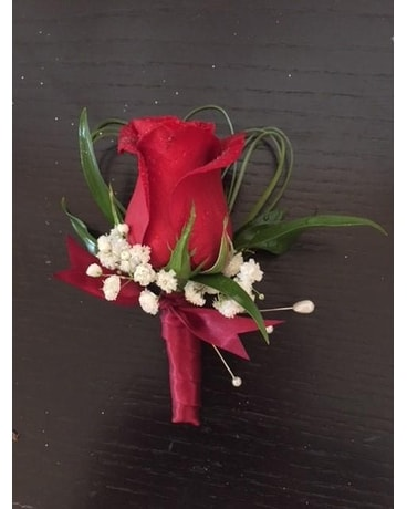 Red All The Way Boutonniere