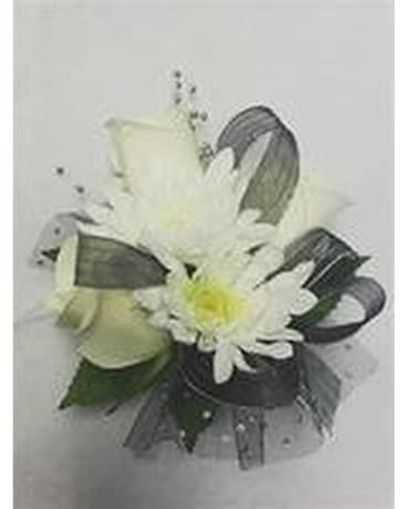 Black and white corsage in murray ut sky floral and specialty gifts black and white corsage flower arrangement mightylinksfo