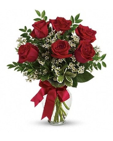 Thoughts of You Bouquet with Red Roses Flower Arrangement
